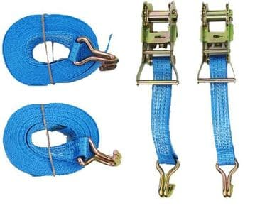 2 x 35mm x 6 Metre MBL 3 Ton TIE DOWN RATCHET LASHING STRAPS + Claw Hook trailer